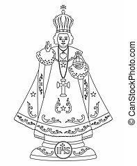 Infant Jesus of Prague. Outline only