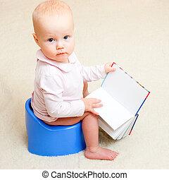 Infant on potty - Little baby girl sitting on blue potty ...