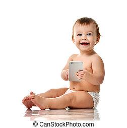 infante, bambino, ragazza bambino, bambino primi passi, gioco, con, mobile, cellphone, sorridere felice