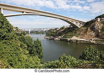 infante, puente, encima, el, douro, río, en, porto, portugal