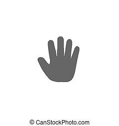 infante, simbolo., illustrazione, mano, alto, palma, bambino, bambino, cinque, icon., aperto, thenar, icona