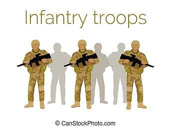 infantería, tropas, soldados, con, weapon., vector