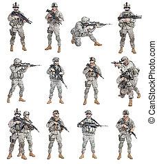 infanterie, fallschirmjäger, zerstreut