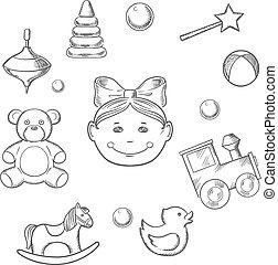 infantil, brinquedos, menina, ícones