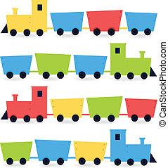 infantil, caricatura, coloridos, trens, isolado, branco