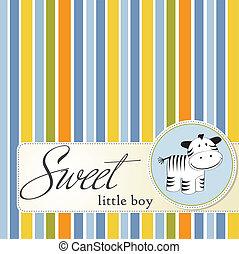 infantil, tarjeta de felicitación, zebra
