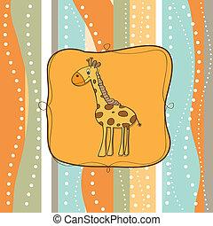 infantile, cartolina auguri, con, giraffa