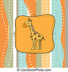 infantile, giraffa, cartolina auguri
