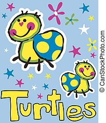 Infantile turtles - Natural composition of some pretty...