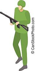 Infantry commander icon, isometric style - Infantry...