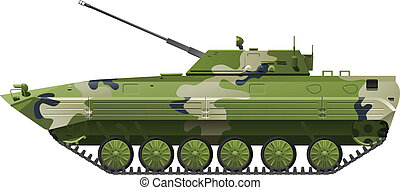Infantry fighting vehicle - Vector color illustration of...