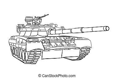 Infantry fighting vehicle engraving sketch. Vector...