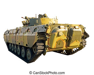 Infantry fighting vehicle on white background