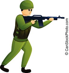 Infantry soldier icon, cartoon style - Infantry soldier...