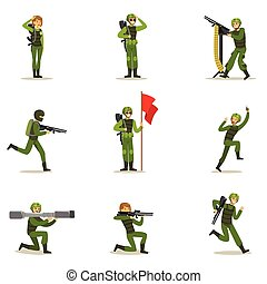 Infantry Soldiers In Full Military Khaki Uniform With Guns...