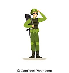 Infantry troops soldier character in camouflage combat uniform doing a hand salute vector Illustration