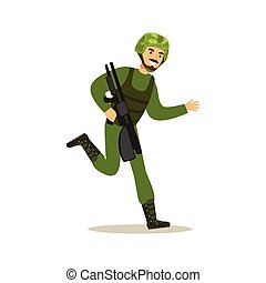 Infantry troops soldier character in camouflage combat uniform running with automatic assault rifle vector Illustration
