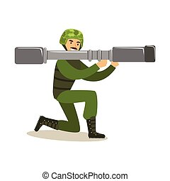 Infantry troops soldier character in camouflage combat uniform standing on one knee with rocket launcher ready to shoot vector Illustration