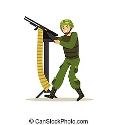 Infantry troops soldier character in camouflage combat uniform shooting from machine gun vector Illustration