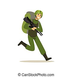 Infantry troops soldier character in camouflage combat uniform and backpack running with weapon vector Illustration