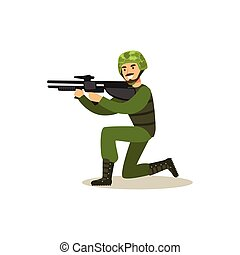 Infantry troops soldier character in camouflage combat uniform standing on one knee aiming with automatic assault rifle vector Illustration