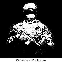 Infantry with machine gun standing in darkness - United ...