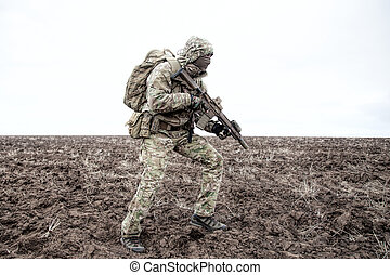 infantryman, induló, hadsereg, modern, portré