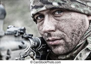 infantryman, katona, lövés, hadsereg, szolgáltatás, karabély