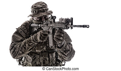 infantryman, műterem, célzás, hadsereg, hajtás, szolgáltatás...
