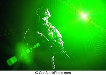 infantryman, nacht, gedurende, militair, operatie, gewapend