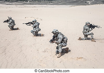 infantrymen in action - United States paratroopers airborne...