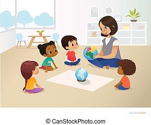 infanzia, attività, vettore, manifesto, globo, seduta, concept., flyer., lesson., illustrazione, insegnante, asilo, cerchio, presto, durante, sorridente, educazione, mostra, bambini, prescolastico, geografia