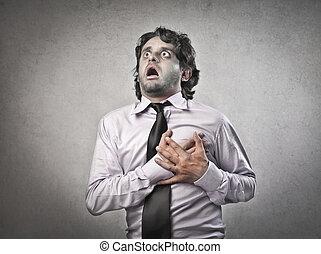 infarct - businessman has heart attack