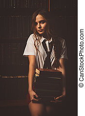 infatuation with literature - Beautiful girl wearing school...