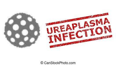 infección, halftone, sello, textured, ureaplasma, espora, ...