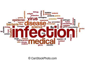 infección, palabra, nube