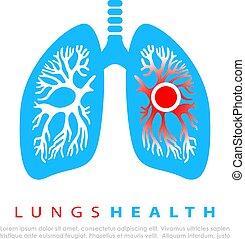infección, pulmones, logotipo, vector