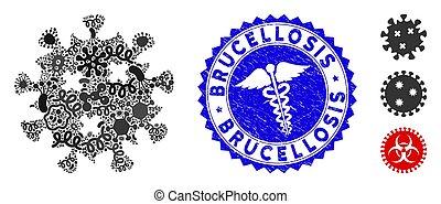 infección, serpientes, collage, brucellosis, virus, sello,...
