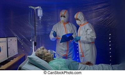 infected, concept., coronavirus, artsen, ziekenhuis, patiënt