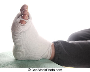 diabetic's infected foot bandaged