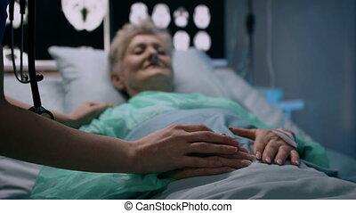infected, lit, concept., coronavirus, mensonge, quarantaine, hôpital, patient