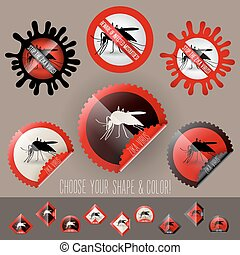 infected mosquito icon awareness vector set in stamp shape -...