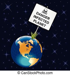 Infected planet earth sign