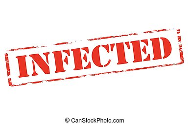 Infected - Rubber stamp with word infected inside, vector...