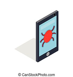 Infected smartphone icon, isometric 3d style
