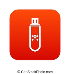 Infected USB flash drive icon digital red for any design...