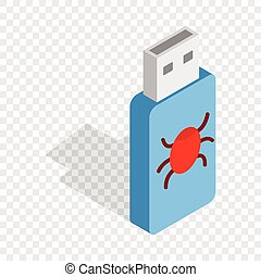 Infected USB flash drive isometric icon