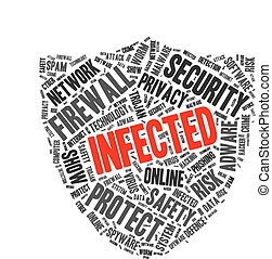 Infected word cloud in a shape of shield
