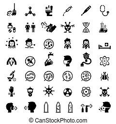 Infection and infestation protection health icons set. Virus...