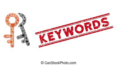 Infection Collage Access Keys Icon and Grunge Keywords Seal ...